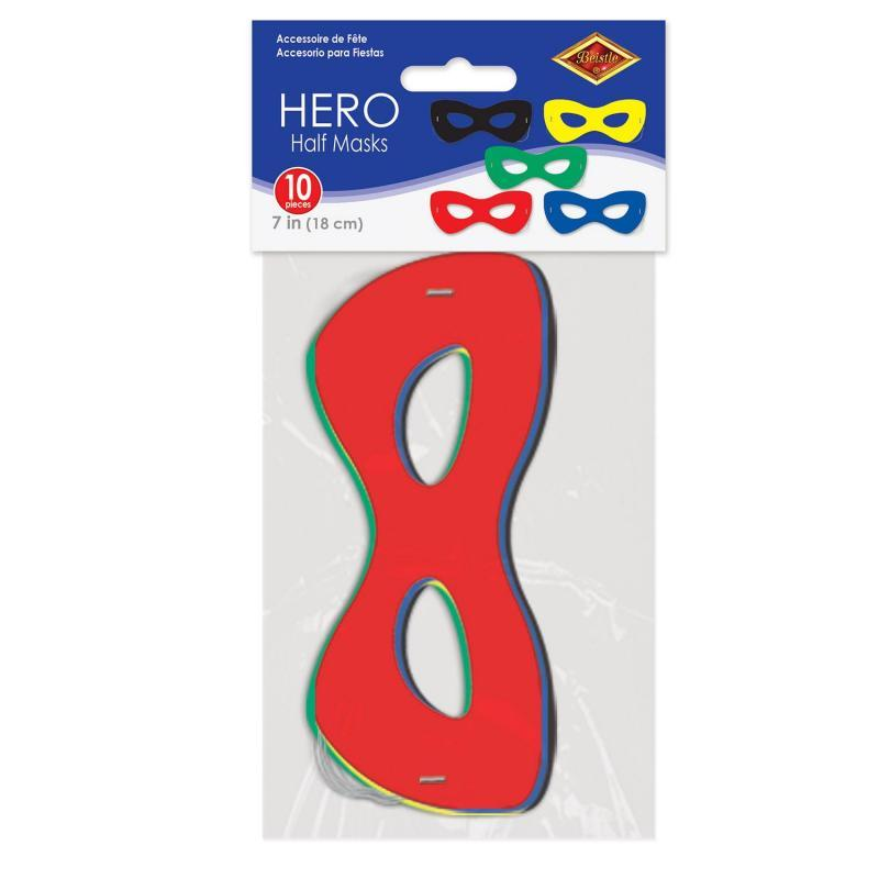 Hero Half Masks (10/Pkg) by Beistle - Heroes Theme Decorations