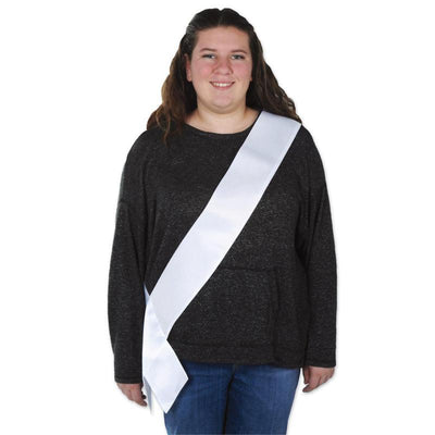 Satin Sash, white by Beistle -  Decorations