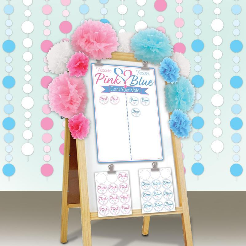 Gender Reveal Tally Board & Stickers by Beistle - Baby Shower Theme Decorations