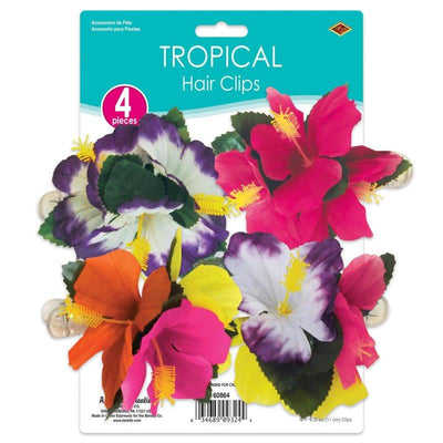 Tropical Hair Clips (4/Pkg) by Beistle -  Decorations