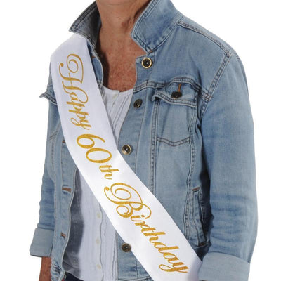Glittered Happy 60th Birthday Satin Sash by Beistle -  Decorations
