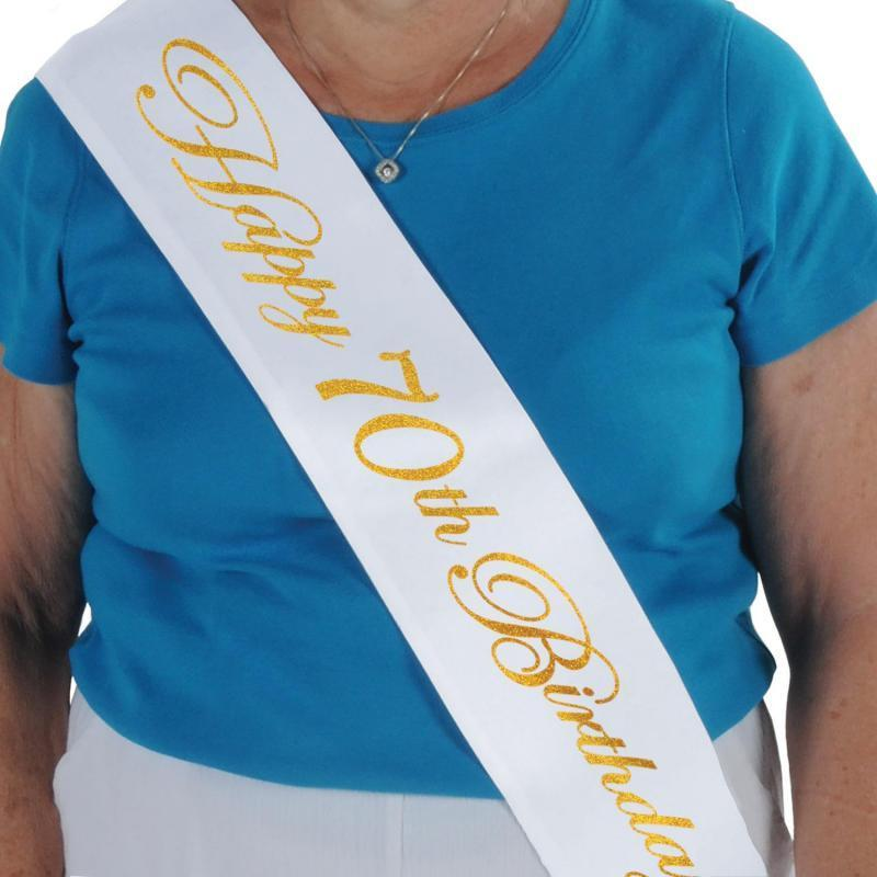 Glittered Happy 70th Birthday Satin Sash by Beistle - 70th Birthday Party Decorations