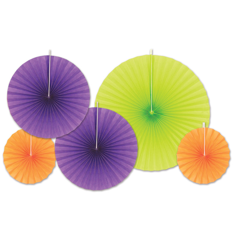 Accordion Paper Fans (5/Pkg), asstd lime green, orange, purple by Beistle - Day of the Dead Theme Decorations