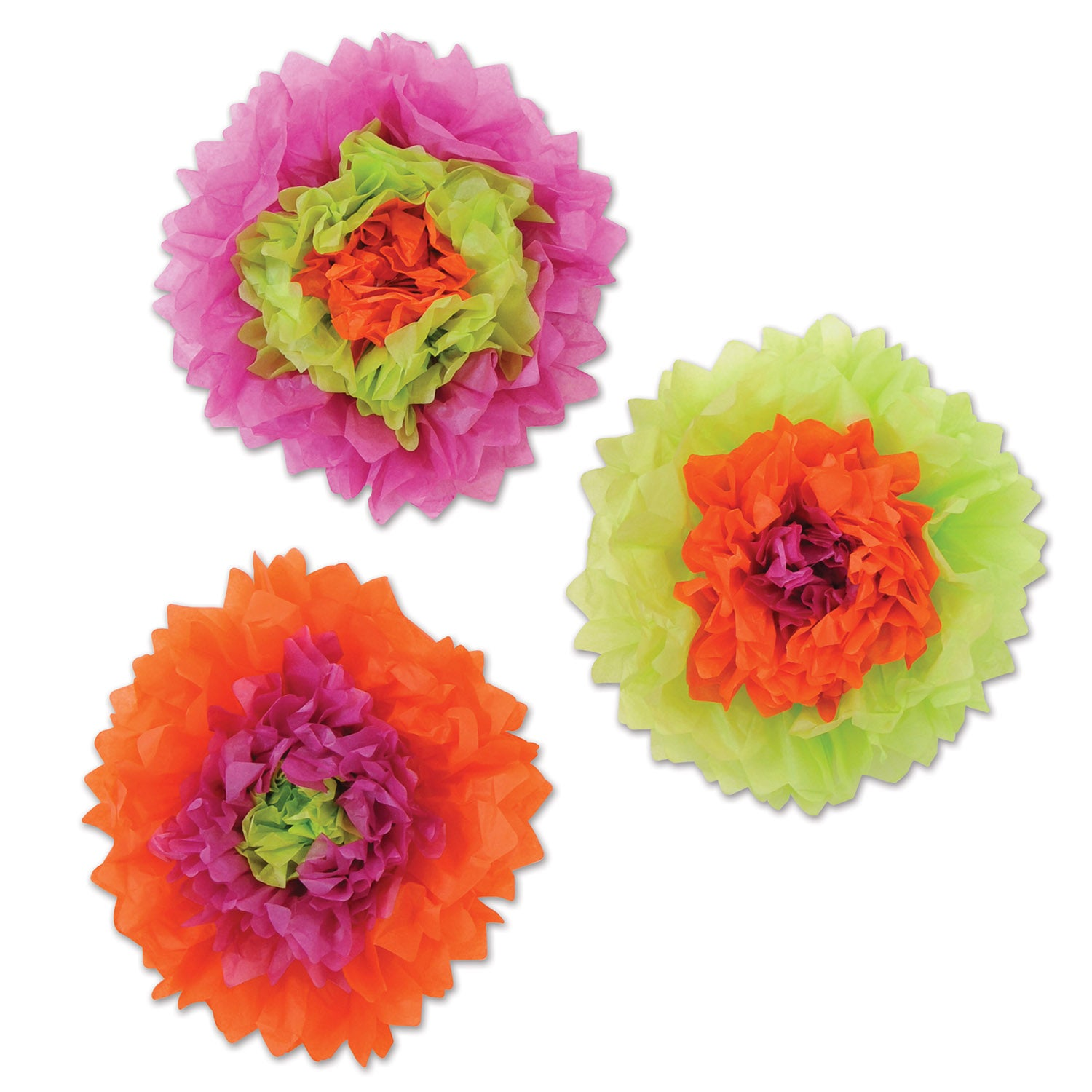 Tissue Flowers (3/Pkg) lime green, orange, purple by Beistle - Day of the Dead Theme Decorations