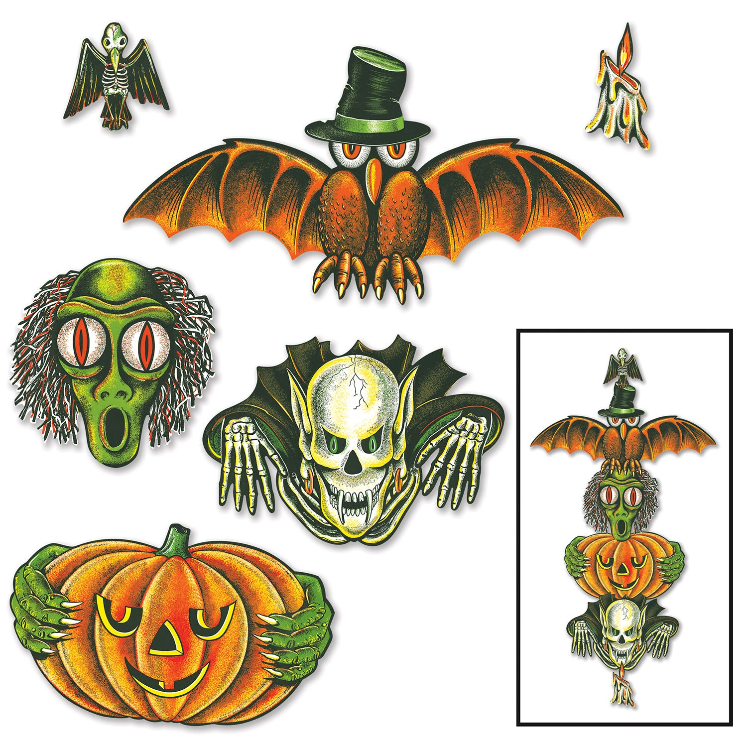 Vintage Halloween Totem Pole Cutouts (6/Pkg) by Beistle - Halloween Theme Decorations