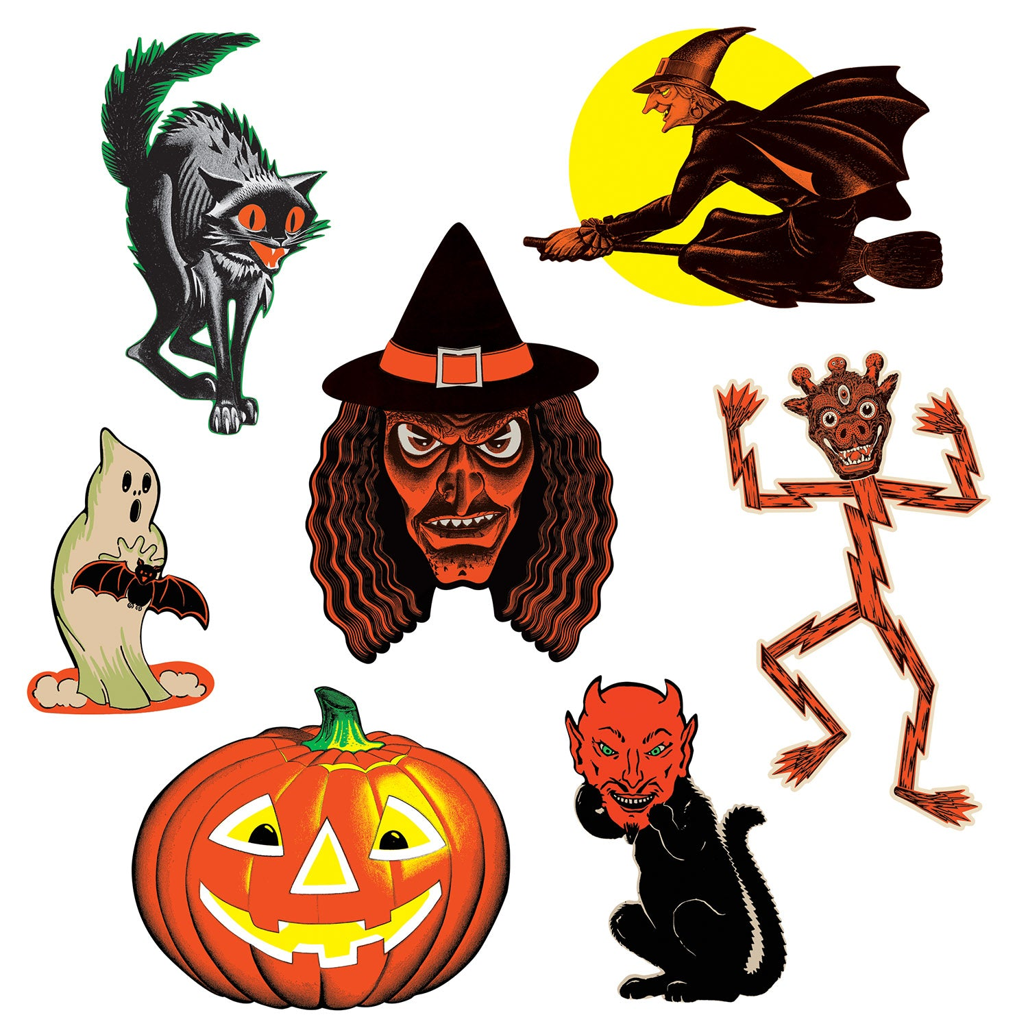 Vintage Halloween Classic Cutouts (7/Pkg) by Beistle - Halloween Theme Decorations
