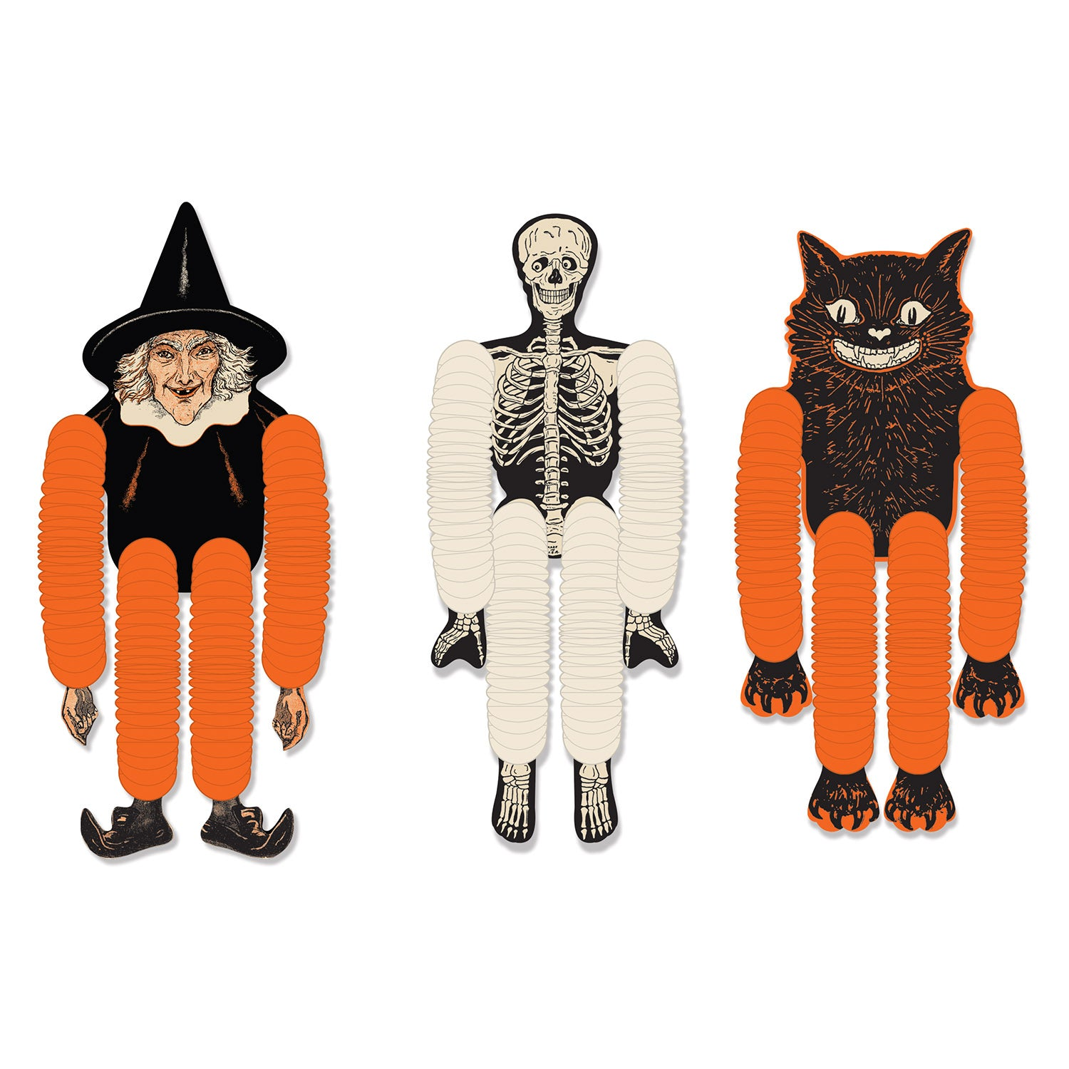 Vintage Halloween Tissue Dancers (3/Pkg) by Beistle - Halloween Theme Decorations