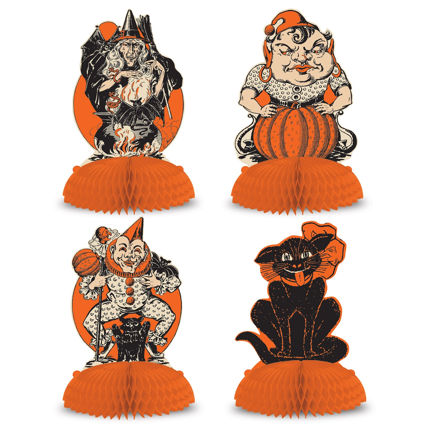 Vintage Halloween Centerpieces (4/Pkg) by Beistle - Halloween Theme Decorations