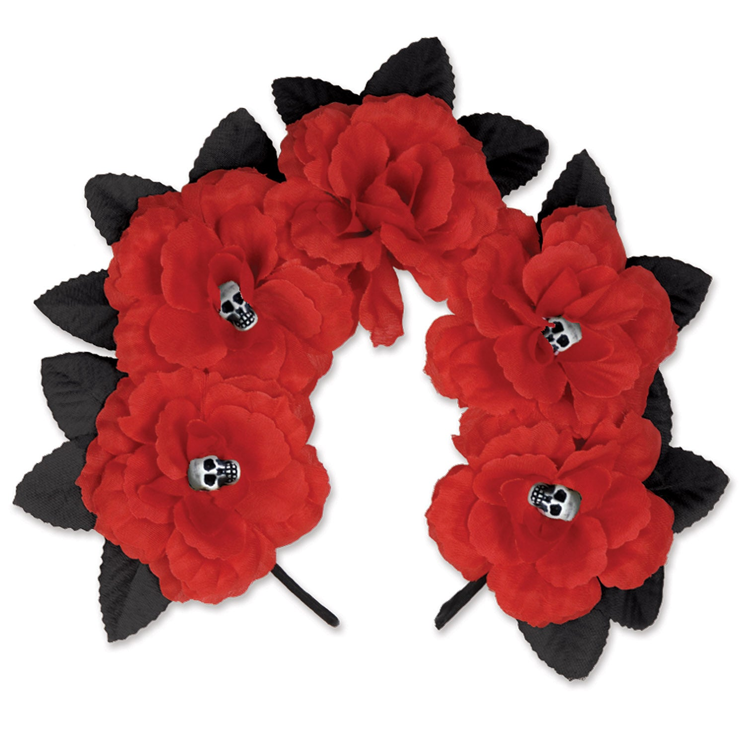 Day Of The Dead Red Floral Headband by Beistle - Day of the Dead Theme Decorations