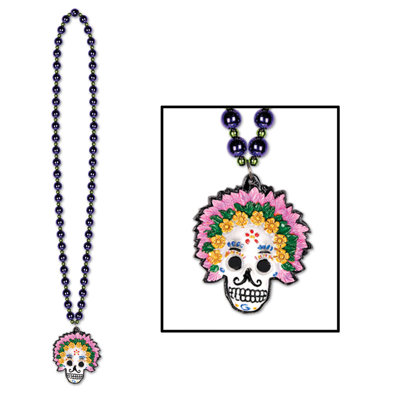 Beads w/Day Of The Dead Medallion by Beistle - Day of the Dead Theme Decorations