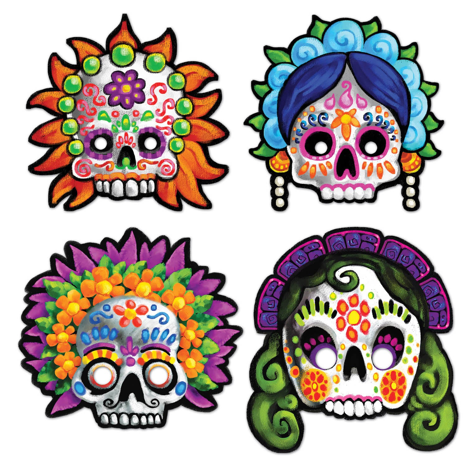 Day Of The Dead Masks (4/Pkg) by Beistle - Day of the Dead Theme Decorations