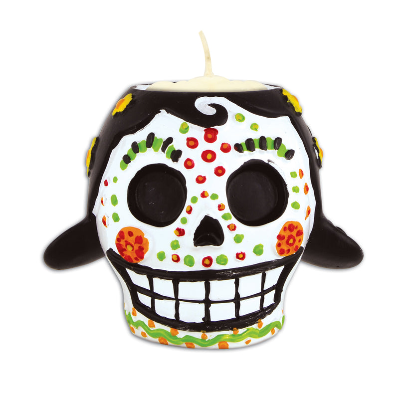 Day Of The Dead Female Tea Light Holder by Beistle - Day of the Dead Theme Decorations
