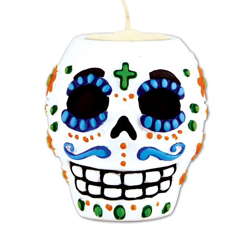 Day Of The Dead Male Tea Light Holder by Beistle - Day of the Dead Theme Decorations