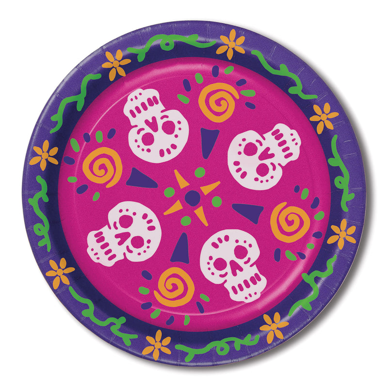 Day Of The Dead Plates (8/Pkg) by Beistle - Day of the Dead Theme Decorations
