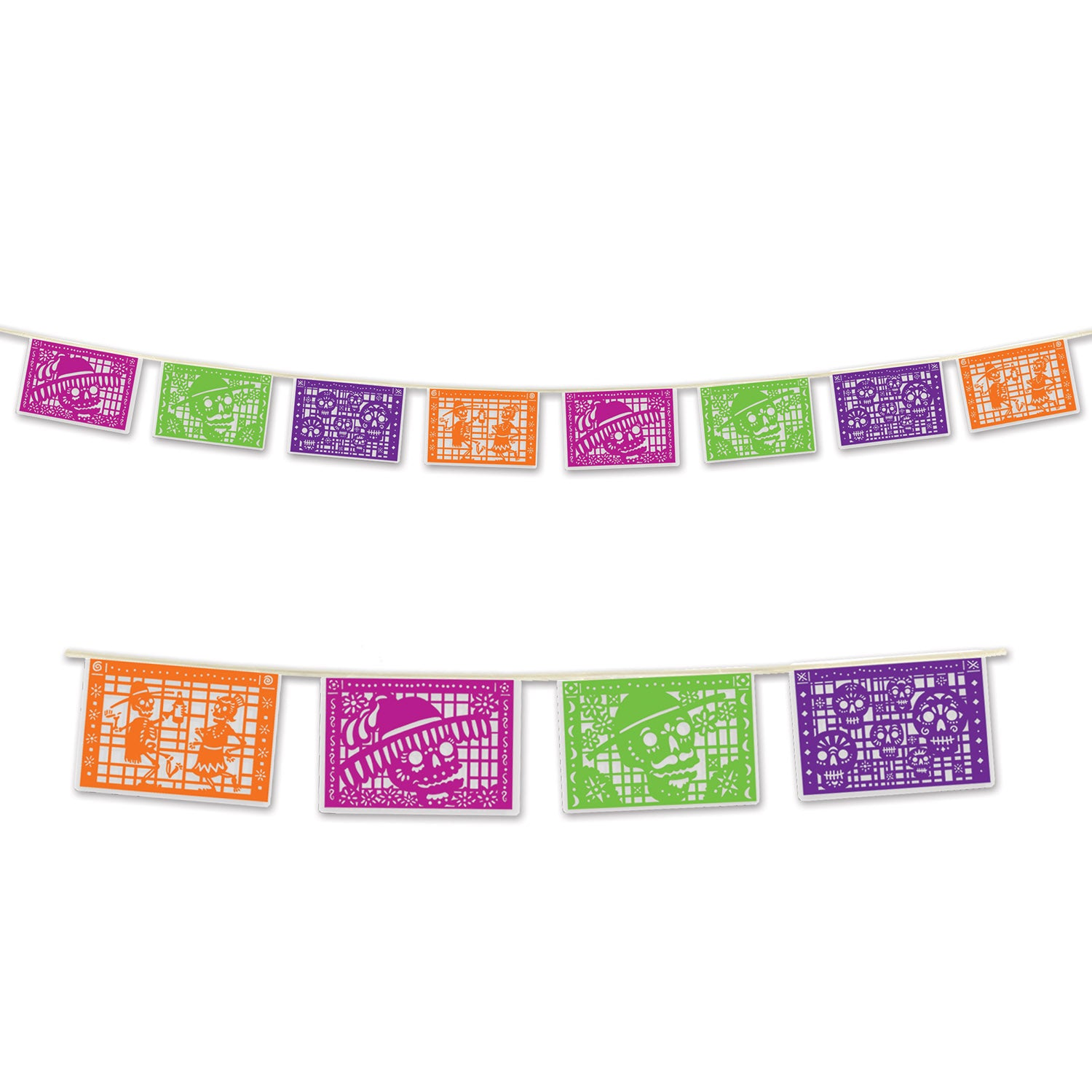 Day Of The Dead Picado Style Pennant Bnr - Day of the Dead Theme Party Supplies