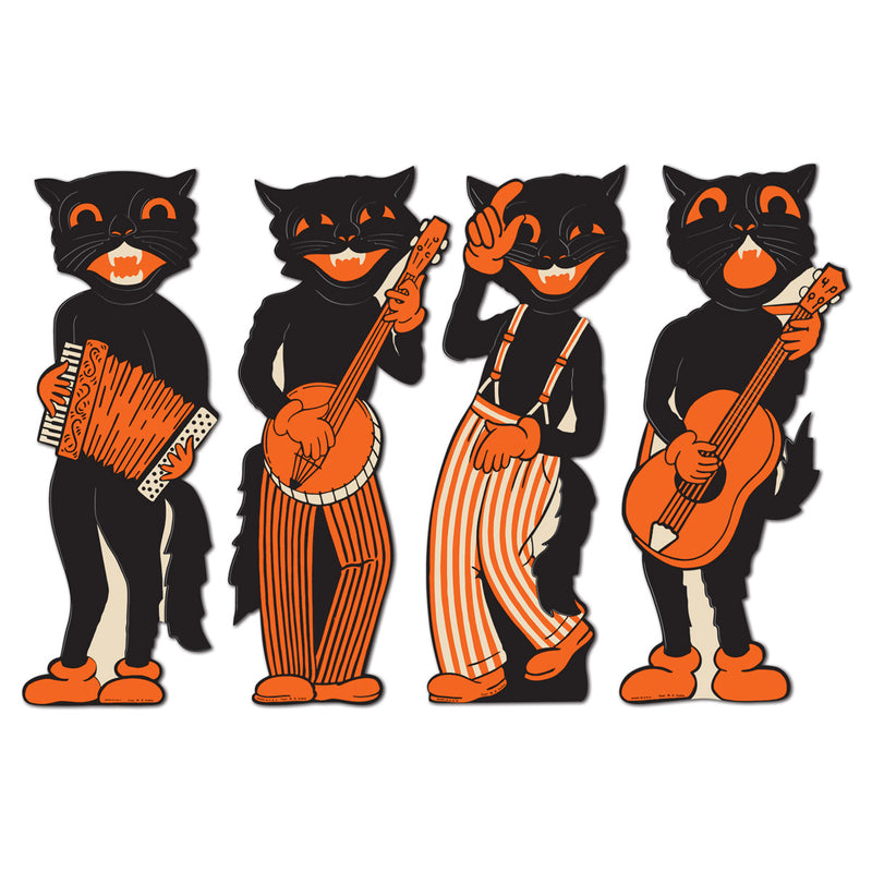 Vintage Halloween Scat Cat Band Cutouts (4/Pkg) by Beistle - Halloween Theme Decorations