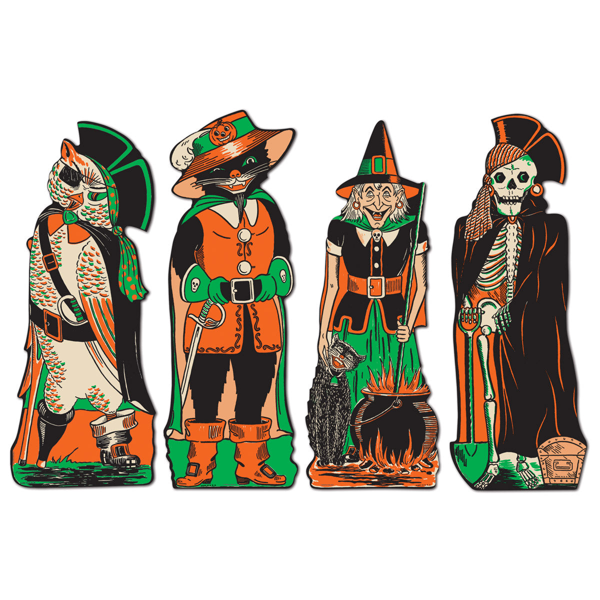 Vintage Halloween Fanci-Dress Cutouts (4/Pkg) by Beistle - Halloween Theme Decorations