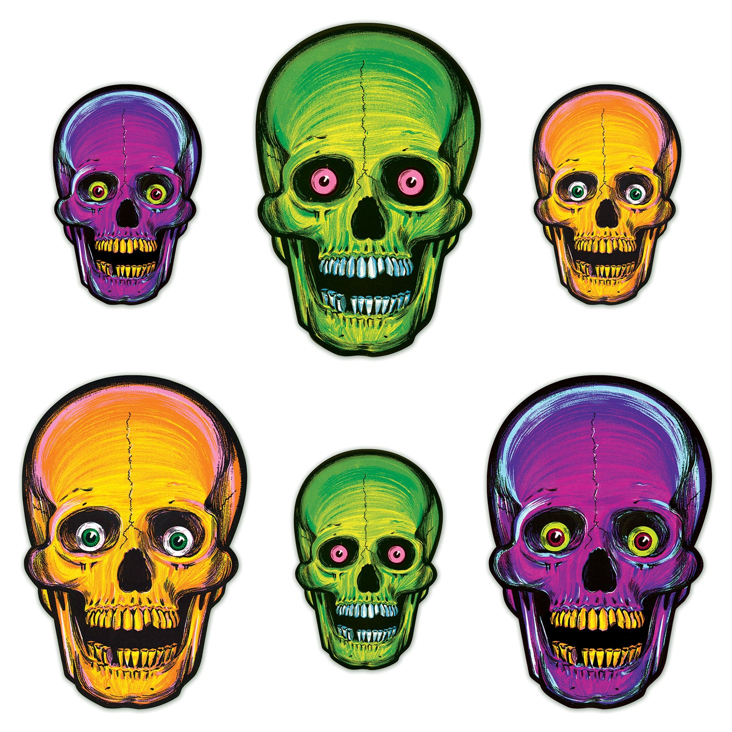 Vintage Halloween Nite-Glo Skull Cutouts (6/Pkg) by Beistle - Halloween Theme Decorations