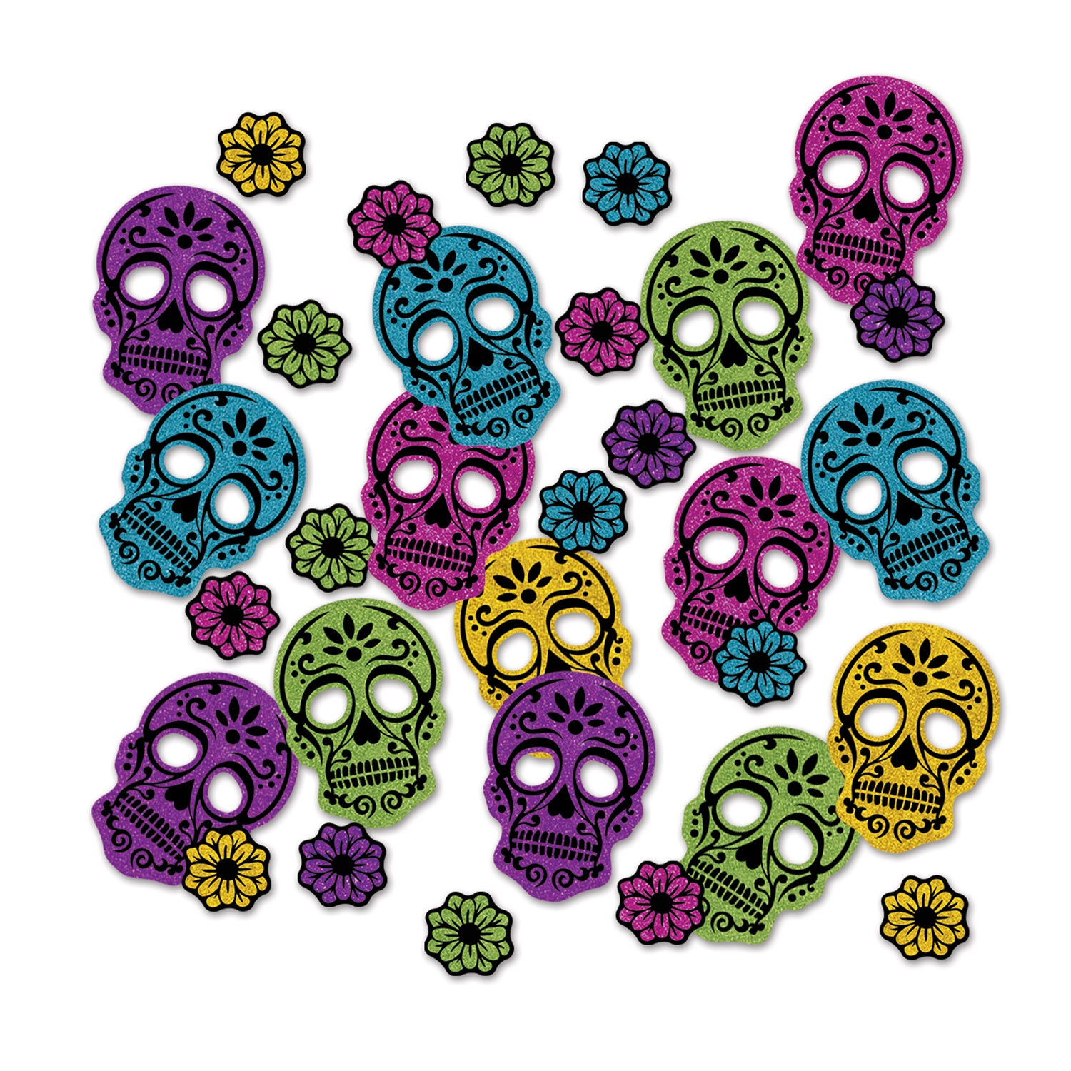 Day Of The Dead Deluxe Sparkle Confetti (.5 Oz/Pkg) by Beistle - Day of the Dead Theme Decorations