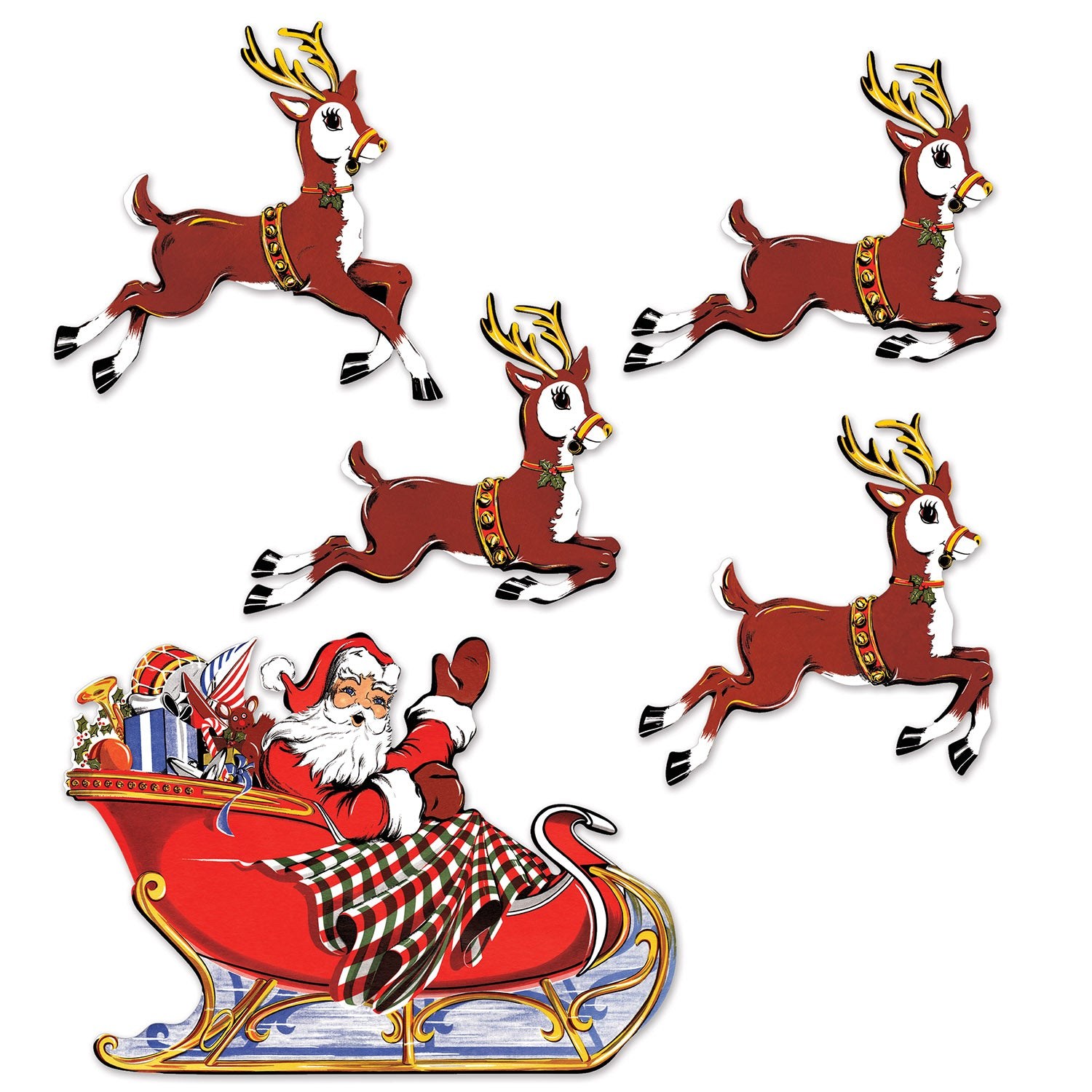 Vintage Christmas Santa & Sleigh Cutouts (5/Pkg) by Beistle - Winter/Christmas Theme Decorations