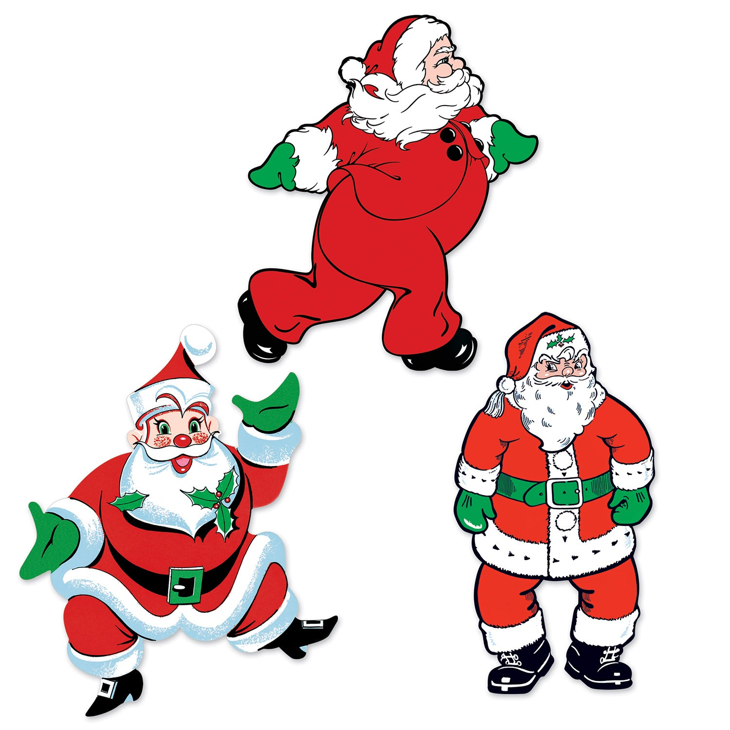 Vintage Christmas Santa Cutouts (3/Pkg) by Beistle - Winter/Christmas Theme Decorations