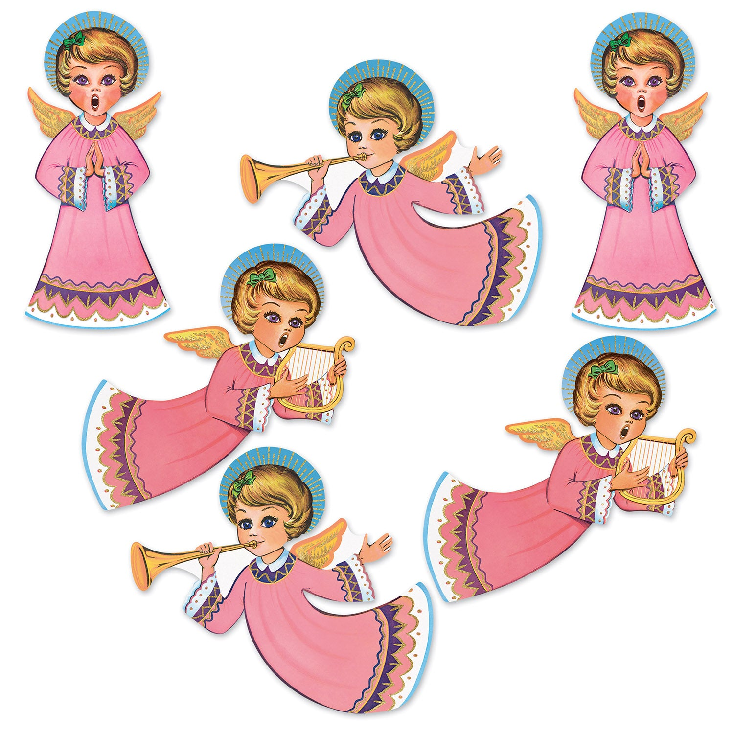 Vintage Christmas Gltrd Angel Cutouts (6/Pkg) by Beistle - Winter/Christmas Theme Decorations