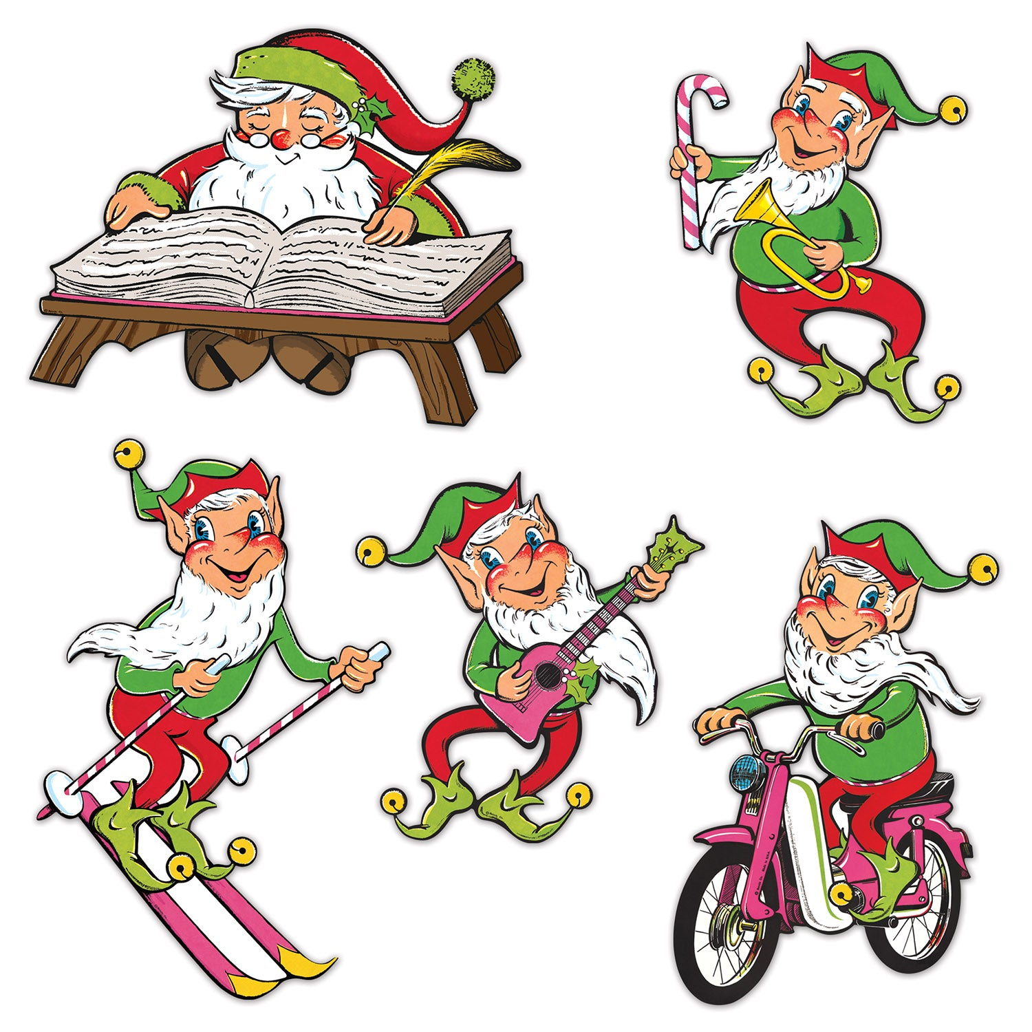 Vintage Christmas Santa & Elves Cutouts (5/Pkg) by Beistle - Winter/Christmas Theme Decorations