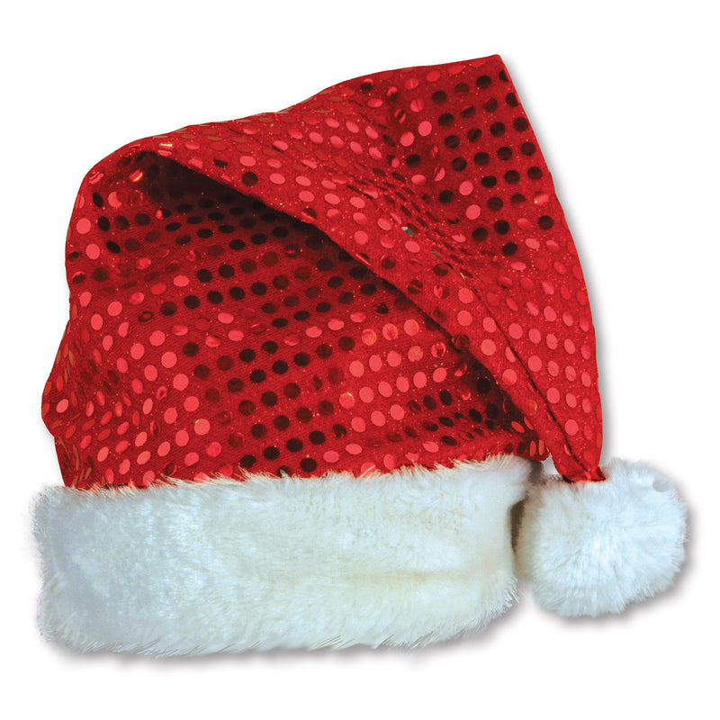 Sequin-Sheen Santa Hat by Beistle - Winter and Christmas Theme Decorations