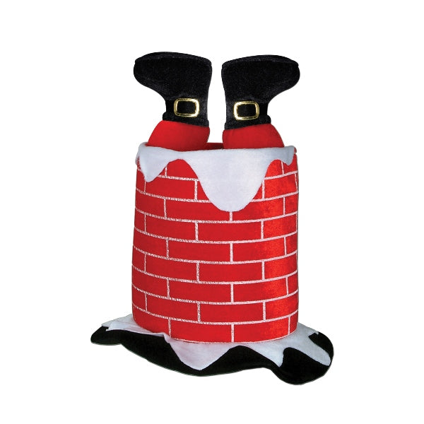 Plush Santa Chimney Hat by Beistle - Winter and Christmas Theme Decorations