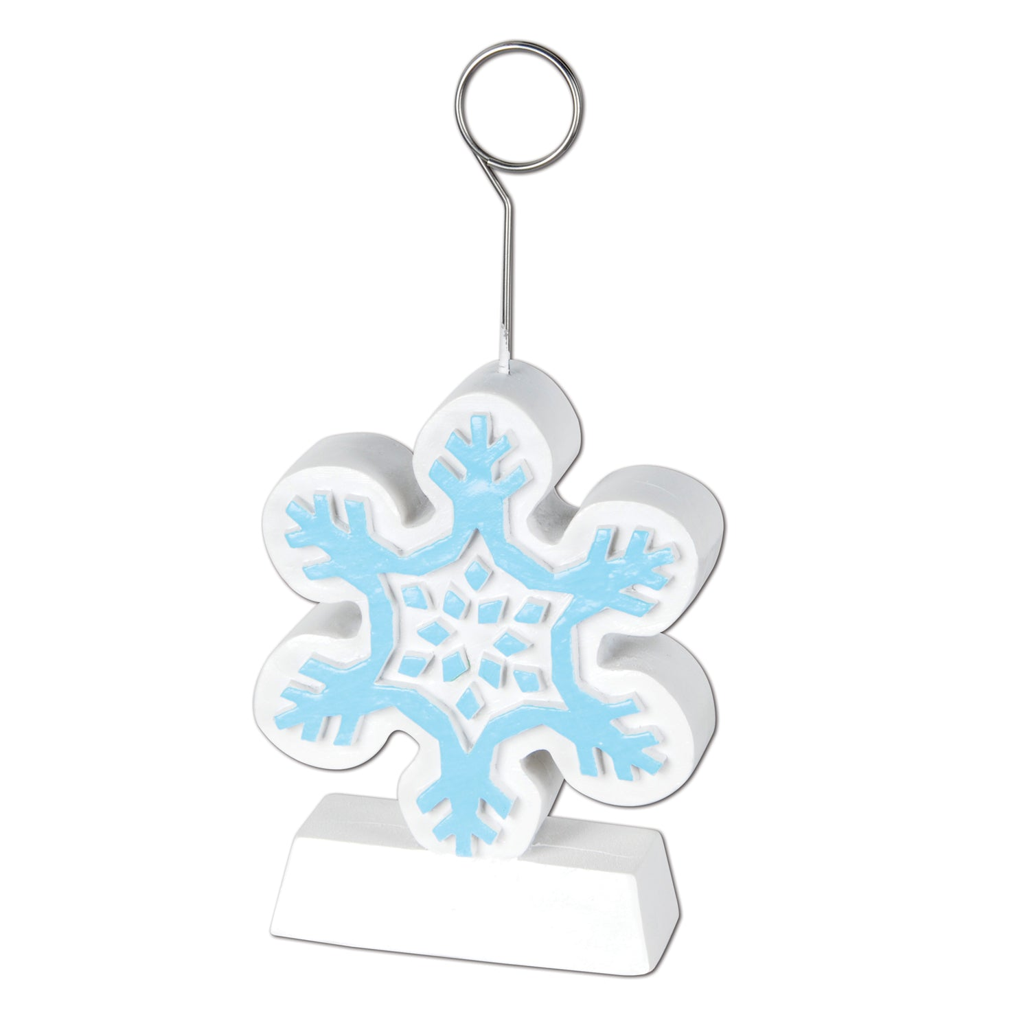 Snowflake Photo/Balloon Holder by Beistle - Winter and Christmas Theme Decorations