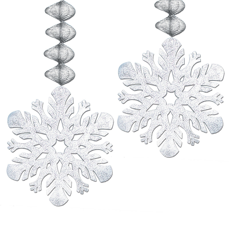 Foil Snowflake Danglers (2/Pkg) by Beistle - Winter and Christmas Theme Decorations