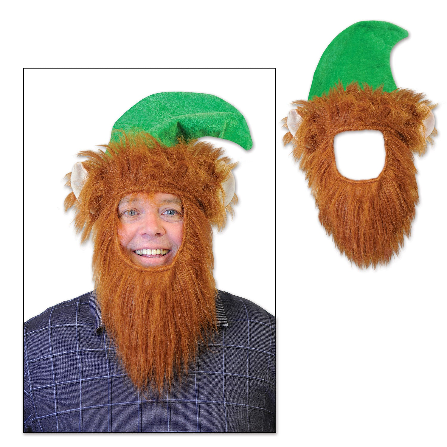 Green Hat w/Beard by Beistle - Winter and Christmas Theme Decorations