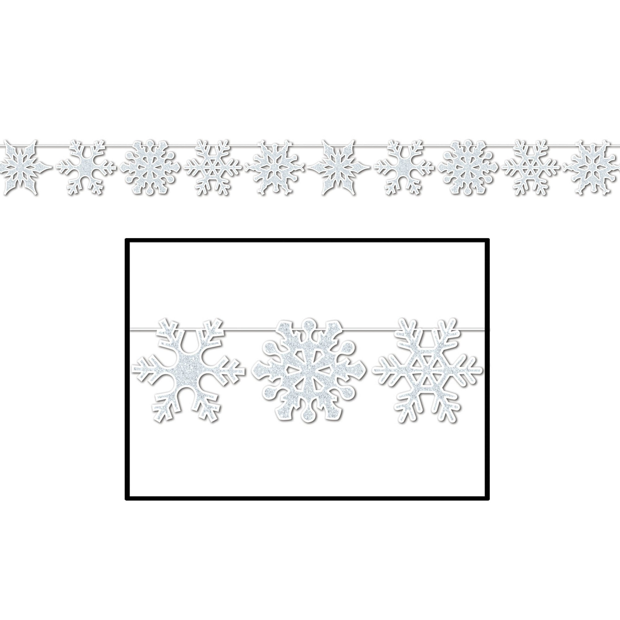 Glittered Snowflake Streamer by Beistle - Winter and Christmas Theme Decorations