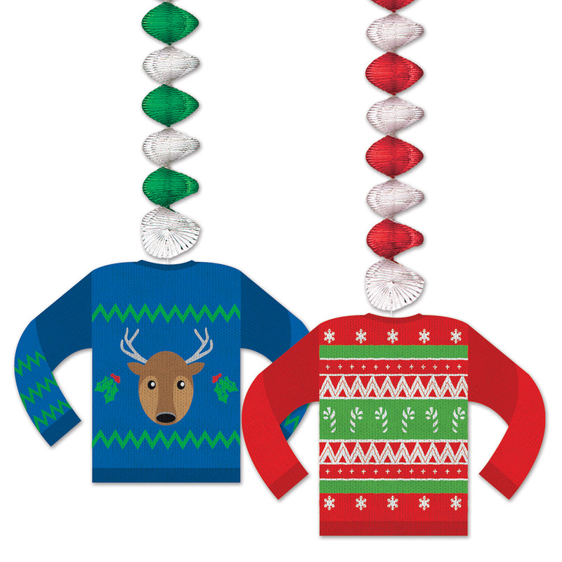 Ugly Sweater Danglers (2/Pkg) by Beistle - Winter and Christmas Theme Decorations