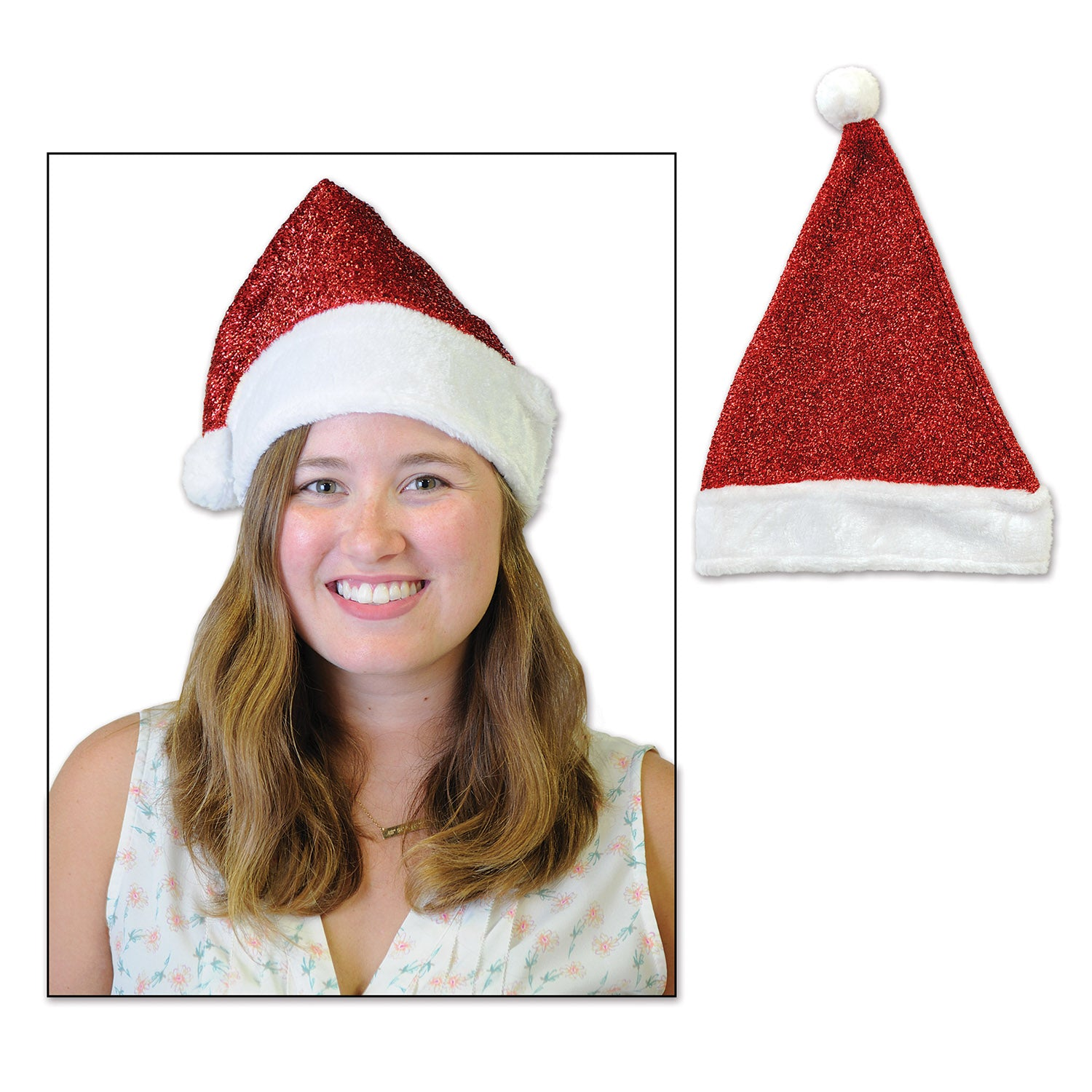 Metallic Santa Hat by Beistle - Winter and Christmas Theme Decorations