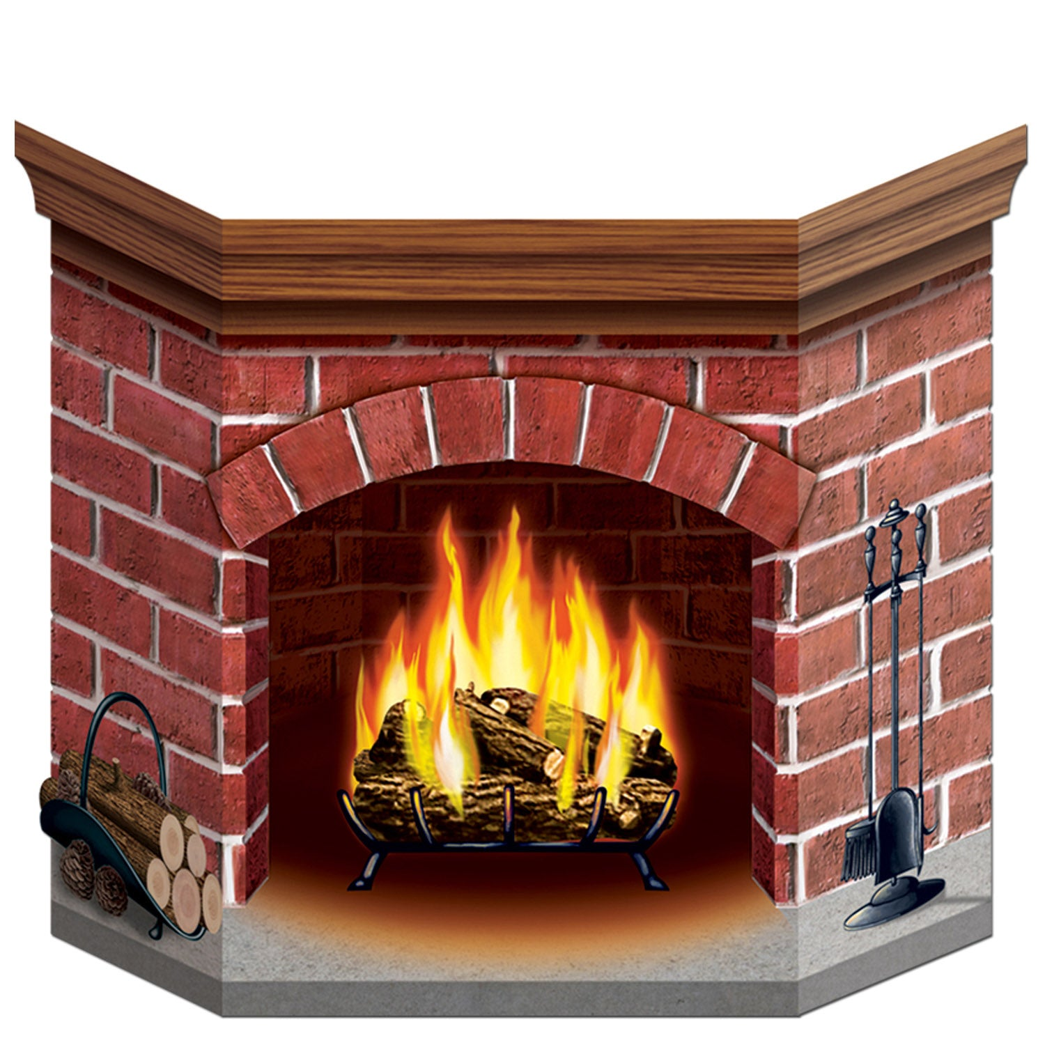 Brick Fireplace Stand-Up by Beistle - Winter and Christmas Theme Decorations