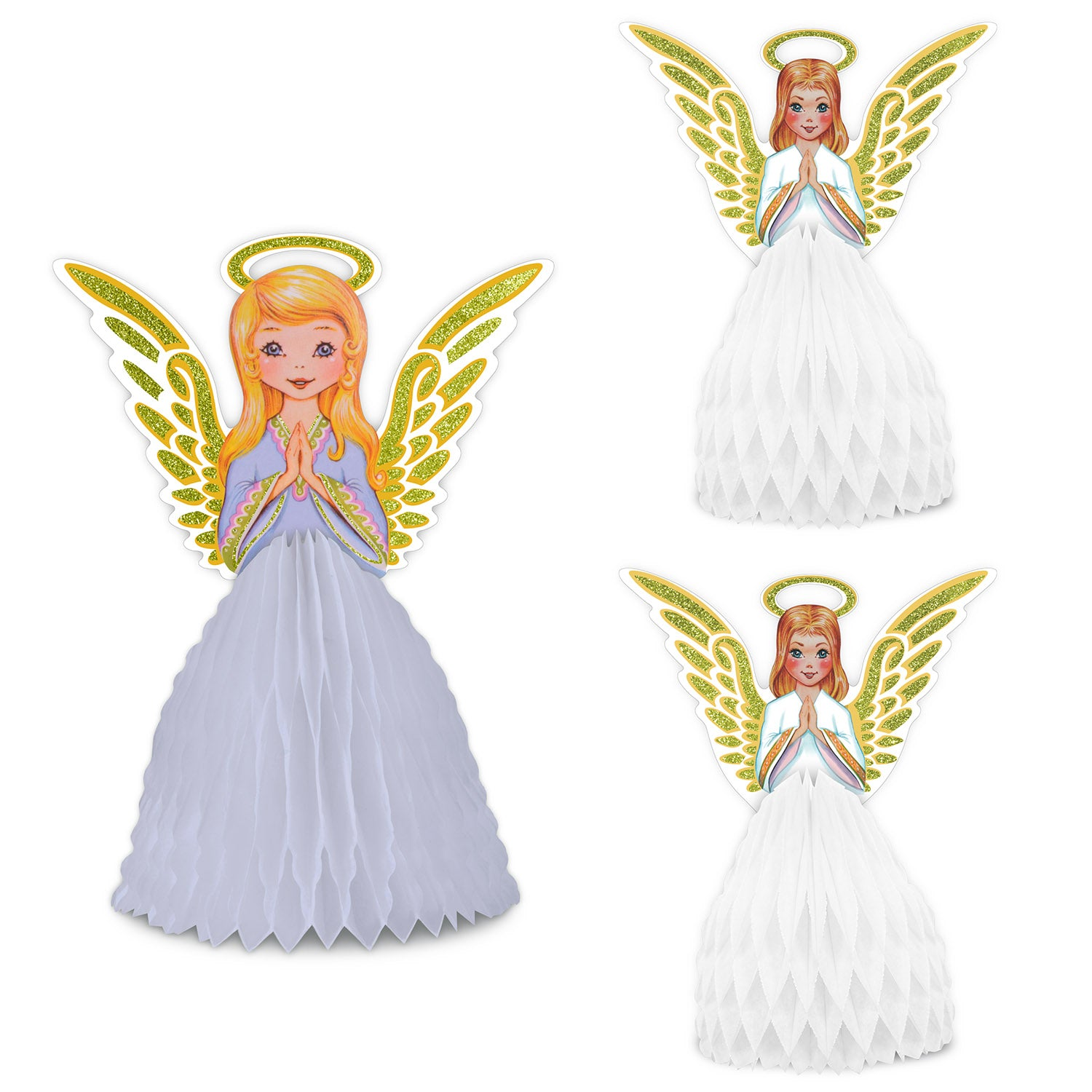 Vintage Christmas Angel Ctrpc Set (3/Pkg) by Beistle - Winter/Christmas Theme Decorations