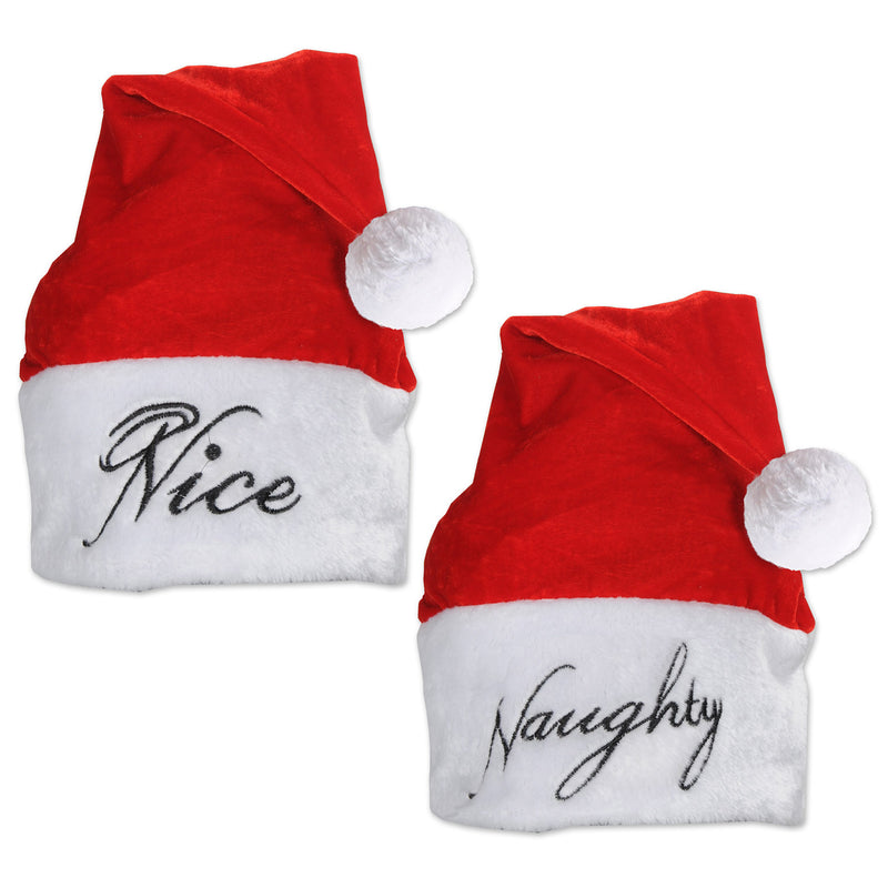 Plush Naughty/Nice Santa Hat by Beistle - Winter and Christmas Theme Decorations