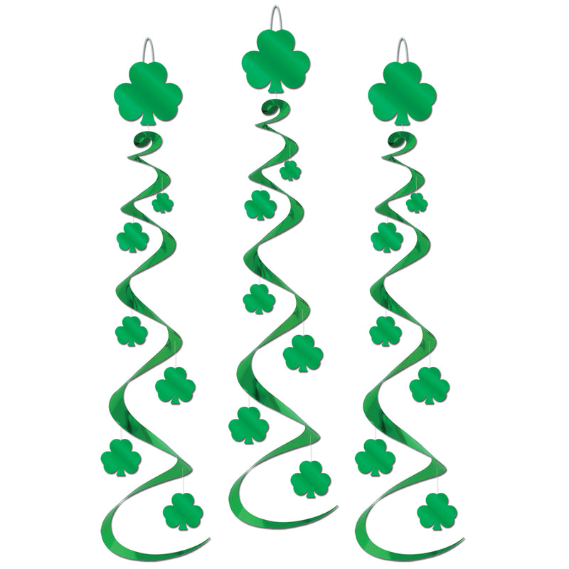 Shamrock Whirls (3/Pkg) by Beistle - St. Patricks Day Theme Decorations