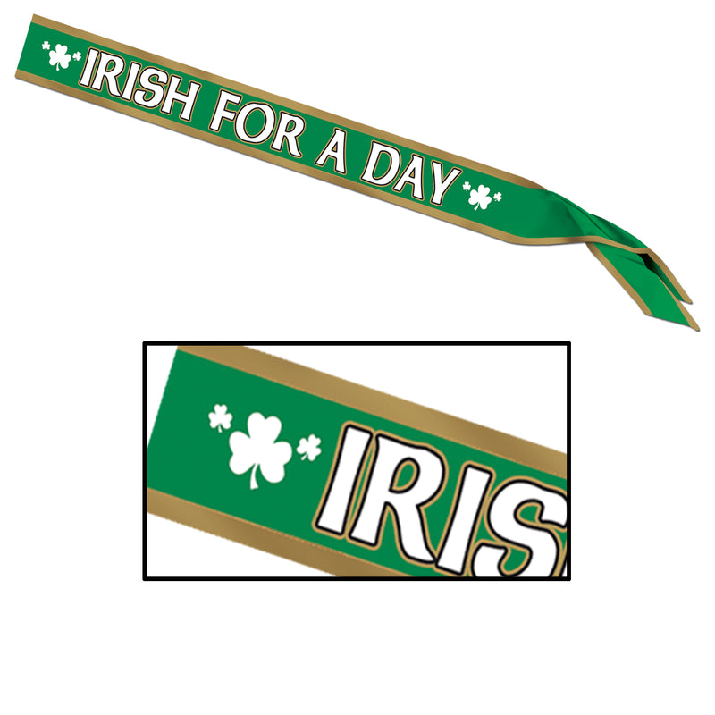 Irish For A Day Satin Sash by Beistle - St. Patricks Day Theme Decorations