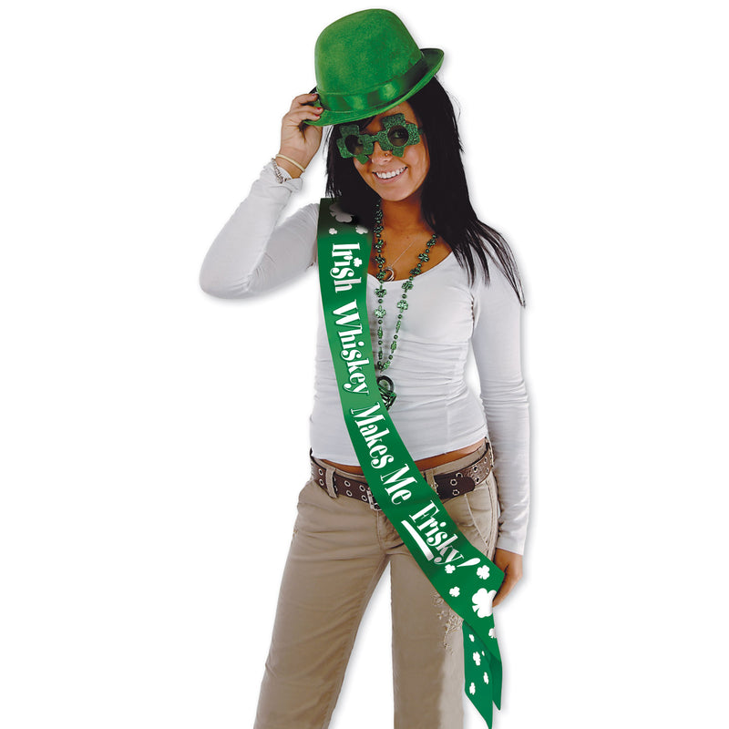 Irish Whiskey Makes Me Frisky! Satn Sash by Beistle - St. Patricks Day Theme Decorations