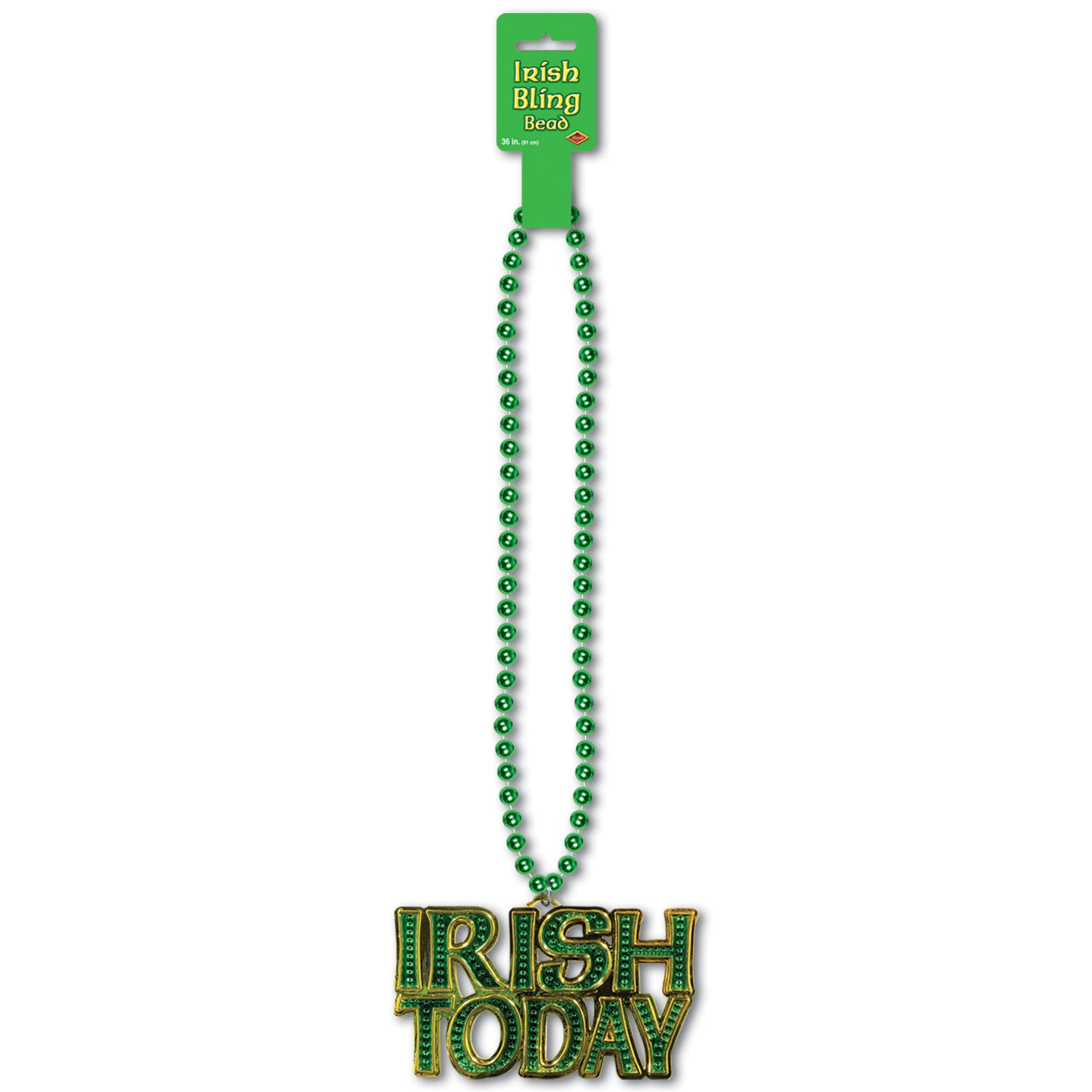 Beads w/Irish Today Medallion by Beistle - St. Patricks Day Theme Decorations