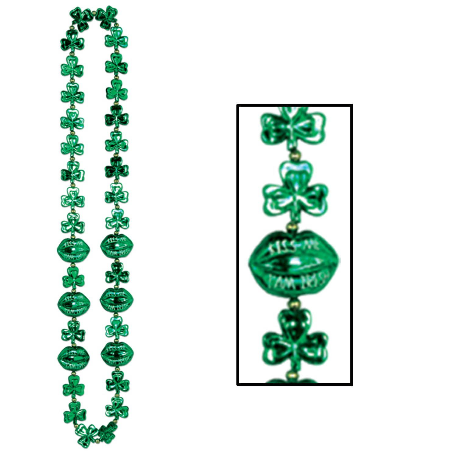 Shamrock Beads w/Kiss Me Lips by Beistle - St. Patricks Day Theme Decorations