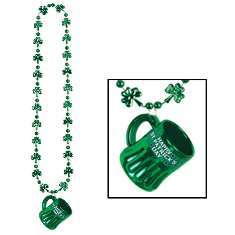 Shamrock Beads w/Happy St Pat's Mug by Beistle - St. Patricks Day Theme Decorations