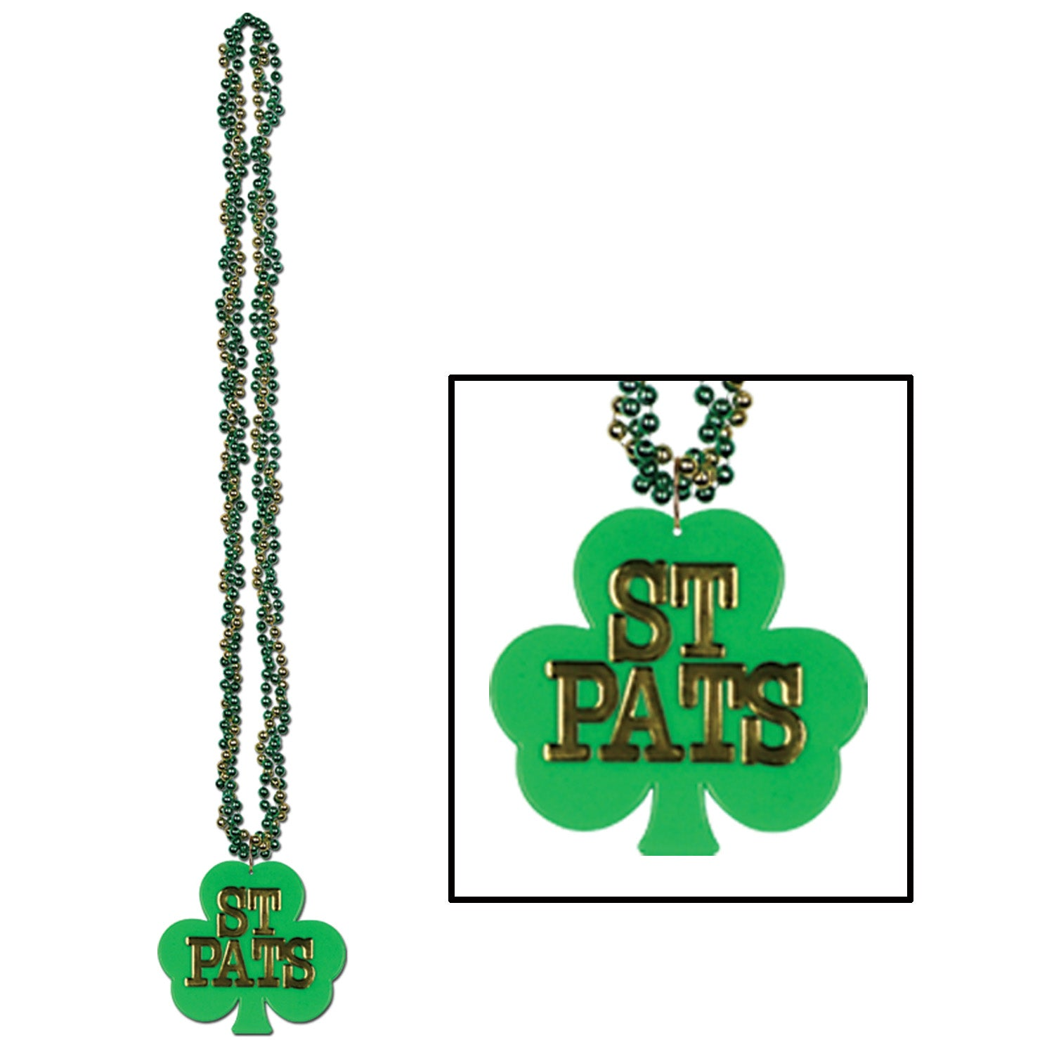 Braided Beads w/Shamrock Medallion by Beistle - St. Patricks Day Theme Decorations