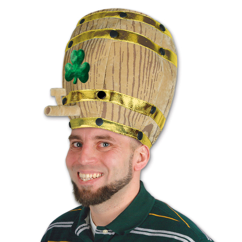 Plush Shamrock Beer Barrel Hat by Beistle - St. Patricks Day Theme Decorations
