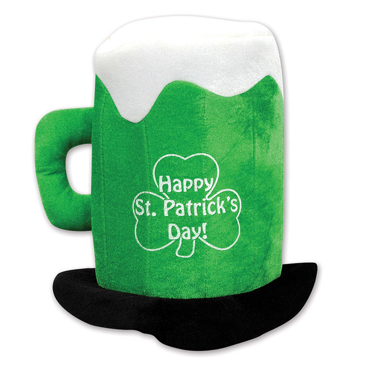 Plush St Patrick's Day Beer Mug Hat by Beistle - St. Patricks Day Theme Decorations