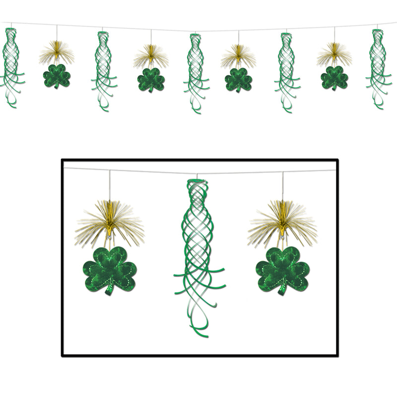 Shamrock Shimmer Garland by Beistle - St. Patricks Day Theme Decorations