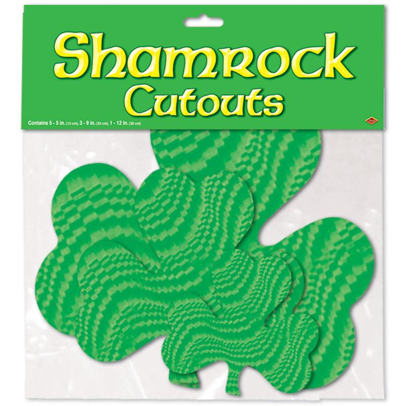 Embossed Foil Shamrock Cutouts (16/Pkg) by Beistle - St. Patricks Day Theme Decorations