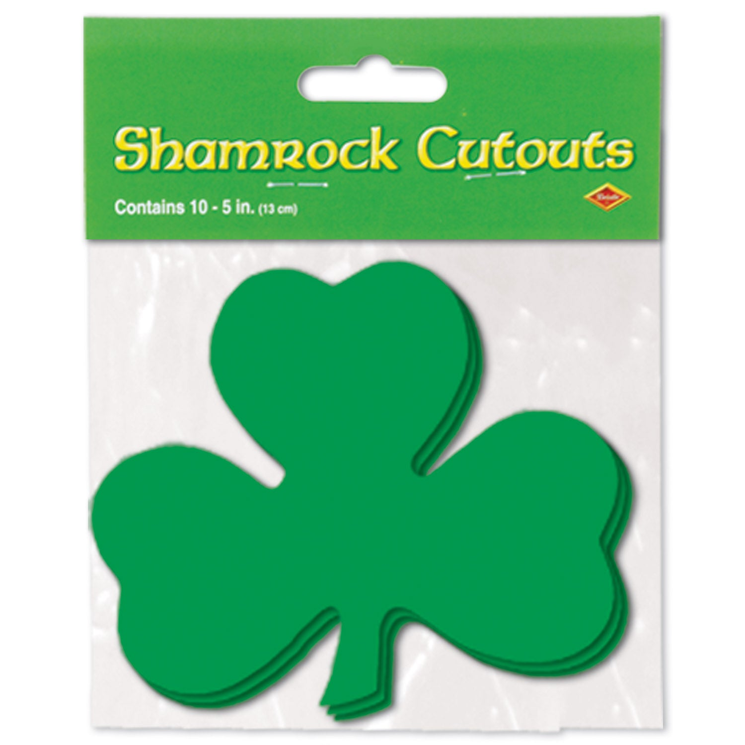 Packaged Printed Shamrock Cutouts (10/Pkg) by Beistle - St. Patricks Day Theme Decorations